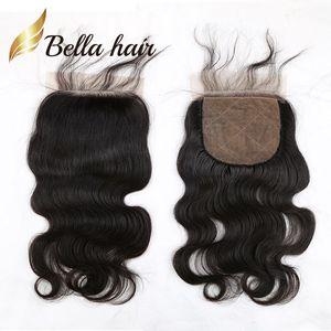 Белла Hair® высокого качества Silk Base Закрытие 100% Необработанные Бразильская человеческих волос Закрытие естественный цвет тела волны Волнистые Silk Base Top Затворы