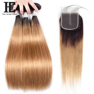 HC Pre Gefärbte brasilianischen Gerade Ombre Menschenhaar-Bündel mit Spitze-Schliessen # 1b / 27 Remy Hair 3 Bündel mit 4 * 4 Lace Closure Mittelteil