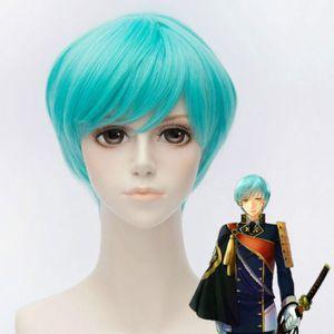 Ly CS vendita a buon mercato festa da ballo cosplayLa Spada Danza Ichigo Hitofuri Breve Blu Cosplay Parrucca -ONLINE-