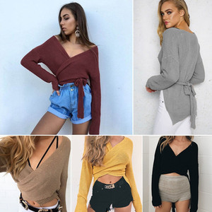 Autumn Lace Up Sweater Women 2017 New Knitted Pullovers fashion Sexy Inclined shoulder V collar Tie Adjust Waist Bandage Sweater women