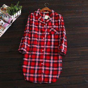 Hot sale Spring Sexy Plaid nightgown women 100% brushed cotton fresh and simple sleepshirts for Women Sleepwear nightdress