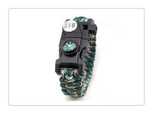 Mescolare il braccialetto Survival colore Bussola SOS LED Signal Light Paracord Fibbia regolabile Handmade Paracord Link Climbing Rope Cord