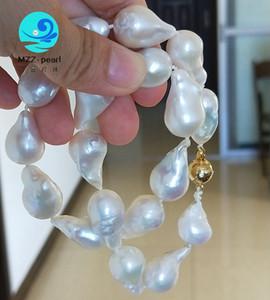 gros collier de perles blanches énormes colliers de perles d'eau douce de forme baroque nucléées irrégulière pour sa