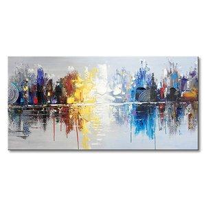 El boyalı Cityscape modern yağlıboya tuval yansıması soyut duvar sanatı dekor (48 x 24 inç)