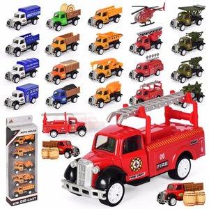 diy scooter Noel doğum günü hediyesi toptan 01:55 Çiftçi kamyon alaşım modeli oyuncak beş takım elbise mühendisliği askeri yangın araba modeli oyuncak çocuklar