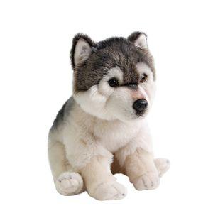 Dorimytrader qualidade simulação de animais lobo macio boneca de pelúcia mini husky stuffed toy pet animais de estimação crianças presente 27x16x24 cm DY50120