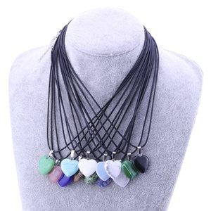 Collana in pietra naturale Heart Love Shape Collana pendente turchese opal druzy drusy per donna