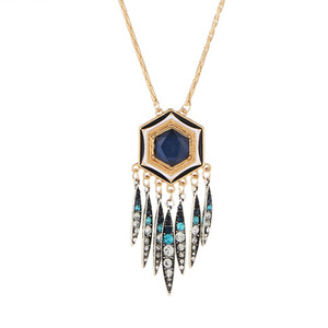 New Pattern Jewelry Bohemia Second Tassels Necklace Long Fund Restore Ancient Ways Personality Exaggeration Hexagon Oil Drop Diamond Sweater