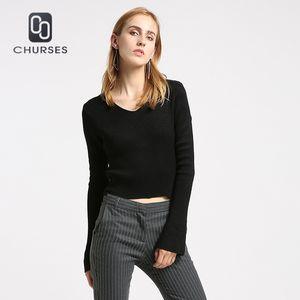 CHURSES camisola 2017 mulheres blusas e pulôveres cor sólida flare manga com decote em v moda outono inverno pullover