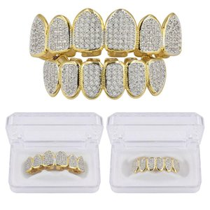 Hip Hop clássico Teeth Grills Golde Cor banhado CZ Micro Pave Exclusivo Superior Inferior Ouro Grillz Set