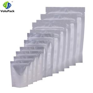 Varios tamaños 4.5MIL Recerrable Bolsas de embalaje de pie Heavy Duty Silver Aluminium Foil Zip Lock Food Storage Bag 100pcs