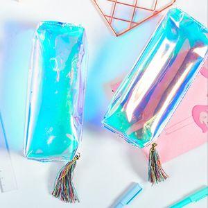 Iridescent Laser Pencil Case Quality PU Transparent Hologram Holographic Pencilcase Makeup Bag School Supplies Stationery Gift