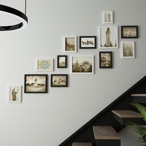 13 قطع خمر إطار للصور جدار ديكور إطار الصورة ل درج شنقا ألبوم الصور للمنازل الخشب إطار الصورة الزفاف الديكور
