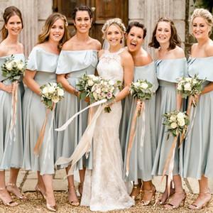 Charming Tea-Length Bridemaids Dresses Elegant Off Shoulder Sleeveless Zipper Back Bridesmaid Dresses Soft Satin Wedding Guest Dresses