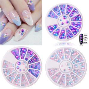 Mix Size Pearl Flat Back Magic Design Sirena gradiente Symphony Charms Beads Wheel Nail Art 3D Suggerimenti Decorazione Gioielli Manicure