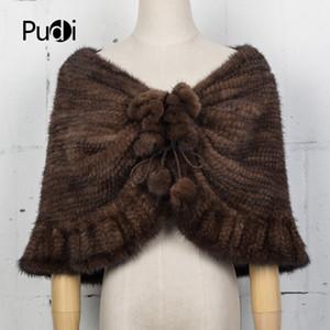 Pudi CK714 Le nuove donne vera pelliccia di visone a maglia scialle di pashmina scialli poncho stole inverno Tippet