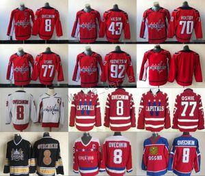 2018 Capitals de Washington 8 Alex Ovechkin 77 TJ Oshie 92 Evgeny Kuznetsov 19 Nicklas Backstrom Braden Holtby Tom Wilson Maillots de Hockey