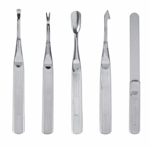 Acier Inoxydable File File Cuticule Spoon Pusher Peau Morte Fourche Callus Rasp Remover Professional Manucure Pedicure Tool Set