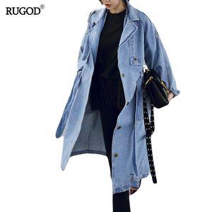 RUGOD Frühling Herbst Frauen beiläufige lose X-lange Denim Trenchcoat weibliche Denim Overalls plus Größe verstellbare Taille Denim Mantel D1892904