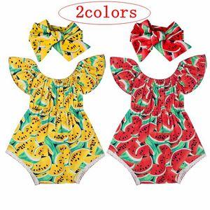 0-2T девушка летние комбинезоны младенческой случайные новорожденных девочек комбинезон арбуз печати комбинезон оголовье бабочка рукава наряды