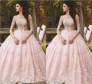 Pink Long Sleeve Prom Dresses Ball Gown Lace Appliqued Bow Sheer Neck 2018 Vintage Sweet 16 Girls Debutantes Quinceanera Dress Evening Gowns