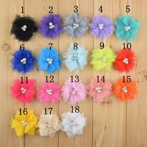 100pcs / Lot 18 Farbe 2 '' Mini Tüll Mesh Chiffon Blumen Strass Perle In Center Diy Handwerk Boutique Haarschmuck Headwear