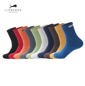 Solide Tuch Zeichen Design Merino Wolle Socken Neu Herbst Winter Männer Crew Socken LIONZONE Wolle Herren Socken Heißer Verkauf