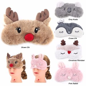Niedlichen Tier Augenschutz Schlafmaske Augenklappe Verband Augenbinde Christmas Deer Winter Cartoon Nickerchen Auge Schatten Plüsch Schlafmaske