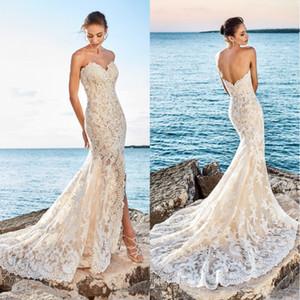 2020 Sexy Beach-Nixe-Spitze-Hochzeits-Kleid-Schatz-Schlitz-Seite Front Low Back Brautkleider Vestidos De Noiva