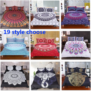 19 Designs Bedding Sets For Duvet Cover Pillow Case Cover 3pcs Set Elephant Mandala Bohemian Quilt Cover Supplies Decorative Gift HH7-1792