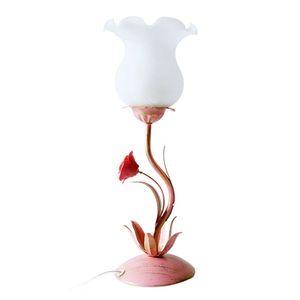 OOVOV Rosa Eisen-Blumen-Mädchen-Tabellen-Licht Kreative Princess Room Tischlampe Schlafzimmer Bettseiten Schreibtischlampen