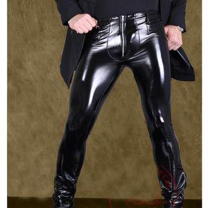 Sexy Men High Elastic PVC Shiny Pencil Pants Faux Leather Fashion Punk Pants Zipper Front Glossy Pencil Gay Wear F116