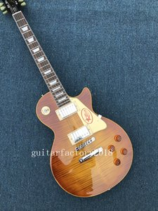 Hot Sale Factory Custom Electric Guitar with Flame Maple Veneer and rosewood Fretboard,White Binding ,Can be Customized