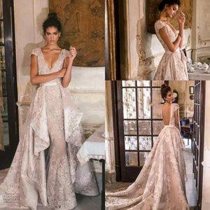 Gorgeous Julie Vino V Neck Detachable Train Mermaid Prom Dresses 2018 Lace Cap Sleeve Overskirt Formal Dress Evening
