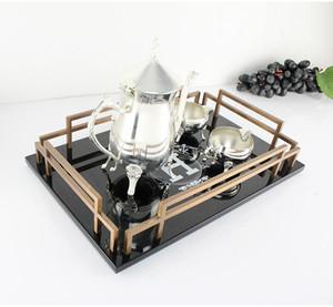 Hogar creativo europeo modelo rectangular sala estilo americano salón mesa de café té de la tarde bandeja de vajilla de madera decoración 2020