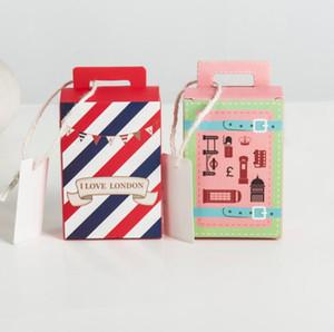 Mini maleta de papel Candy Box Cookie Sweet Gifts bolsa Paquete de chocolate para boda baby shower cumpleaños favores de Navidad