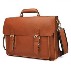 Nesitu Brown Durable grueso vegetal cuero genuino bronceado maletín cartera 14 '' Laptop hombres Messenger Bags M7105