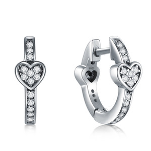 Modian способ шарма 100% Реальная 925 серебряных сердца Ослепительной CZ обруч серьги для женщин Кристалла ювелирных изделий стерлингового серебра