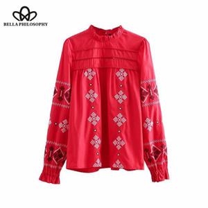 Bella Felsefesi 2018 kadınlar vintage nakış kırmızı casual bluz bayanlar agaric dantel pilili gömlek chic femininas blusas tops