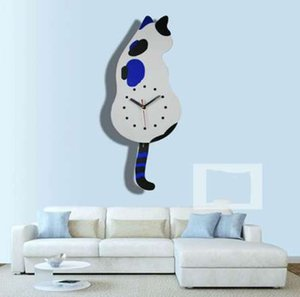 Cat Silent Creative Cartoon Orologio da parete Grande orologio da parete a specchio Large Size DiySticker Regalo unico wall home docor