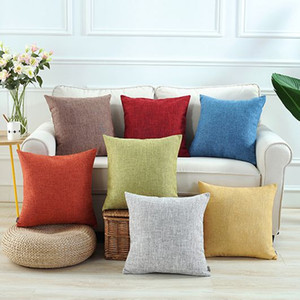 solid colors cushion cover 45cm 55cm cotton linen bed sofa throw pillow case blue almofada modern spring decoration grey cojines