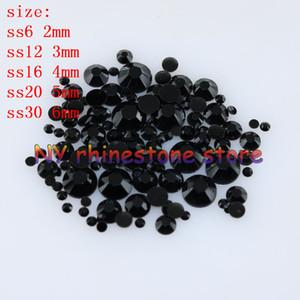 1000-10000pcs bag 2-6mm Black Resin Crystal Rhinestones FlatBack Super Glitter Nail Art Strass Wedding Decoration Applique Non HotFix 04