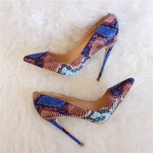 Blue Pumps 120mm Women Pumps Pointed Snake 80mm Printed Free Toe Shipping Python Sandals 100mm Boots Bride Wedding High Fashion Shoes H Dmha