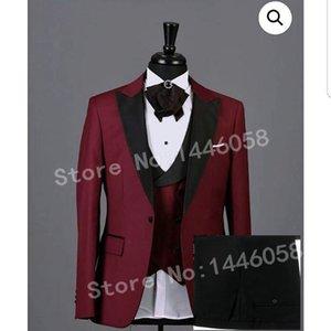 2019 Fashion Design Wedding Party Dress Uomo Abito da sposa Slim Fit Borgogna 3 Pezzi Uomo Abiti Per Matrimonio Sposo Smoking Best Man Sposo