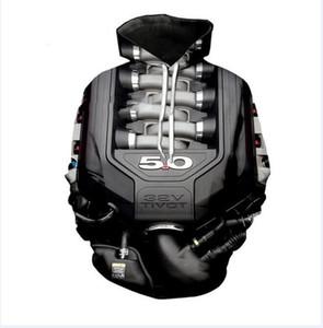Новейшая мода женская / мужская суперкар Ford Mustang 5.0 L V8 мощность двигателя сердце смешно 3D печати повседневная Crewneck толстовки плюс размер LMS07