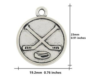 Double sided ice hockey charms alloy round shape pendant sports fan jewelry making diy