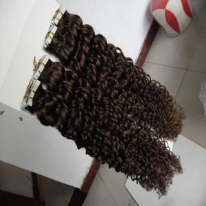 Nastro riccio nelle estensioni dei capelli 100g 40pz / pacco Trama della pelle dei capelli sui capelli senza adesivo