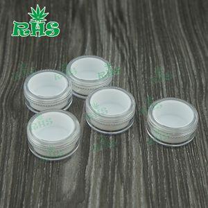DHL libre colorido 5ml recipiente de plástico inserto de cera saludable pequeños recipientes transparentes con los tarros de silicona tapa DAB recipiente cera
