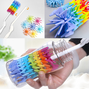 Cleaning Brush For Silicone Bottle Drinking Cup Water Mug 360 Degree Rotating Long Handle Rainbow Cleaning Brush Free shipping HH7-1260