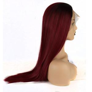 Burgunder-Spitze-Perücke 180% Dichte Burgunder-Wein-Rot Glueless Ombre gerade Perücke Hitzebeständige Haar Synthetische Lace Front Perücken
